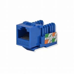 100 Pack Lot Keystone Jack Cat6 Blue Network Ethernet 110 Punchdown 8p8c Rj45