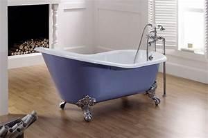 Baignoire A Poser : lavande baignoire poser fonte maill e bleu provence ~ Edinachiropracticcenter.com Idées de Décoration