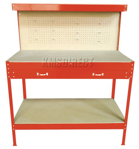 pegboard table new red steel tools box workbench garage workshop table with pegboard drawers