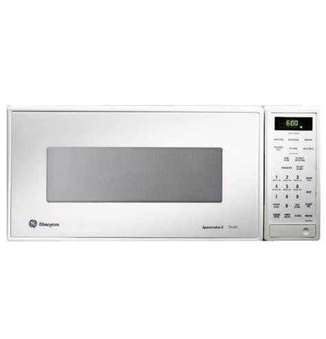 zemwy ge monogram white compact microwave oven  sensor cooking controls monogram