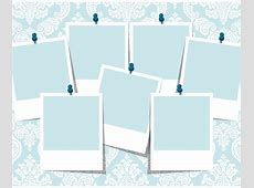 Blue Damask Photo Collage Template Vector Art & Graphics