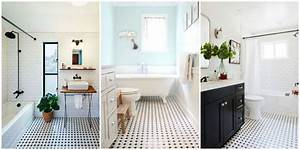 Classic Black and White Tiled Bathroom Floors are Making a
