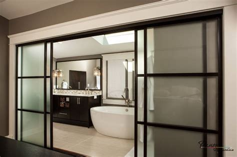 Modern Bathroom Door Ideas by Wide Black Framed Frosted Glass Sliding Door Design For