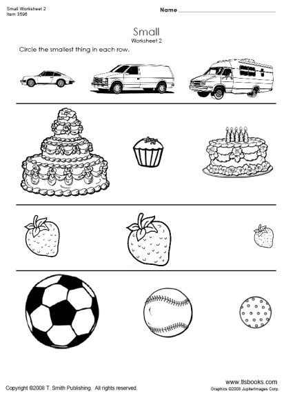 big and small worksheets for preschool worksheets for all