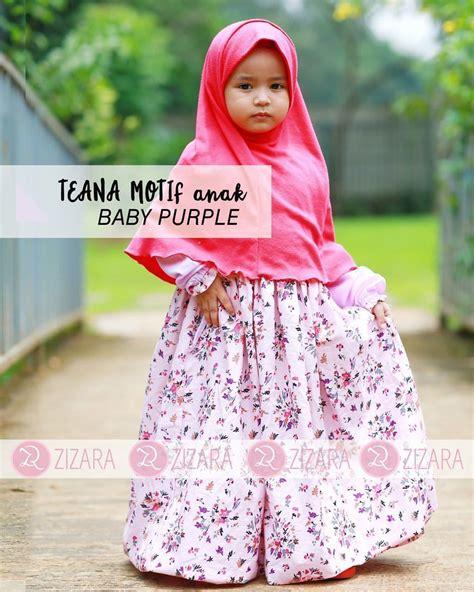 gamis zizara teana dress anak baby purple baju muslim