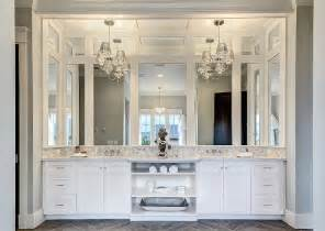 chandelier over vanity transitional bathroom clark