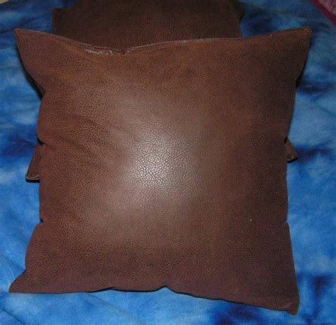 Throw Pillows On Leather by 2 Brown Faux Leather Throw Pillow Covers Pillow Insert Not