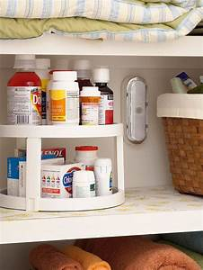 Store more in your bath organize medicine medicine for Kitchen cabinets lowes with pill bottle stickers