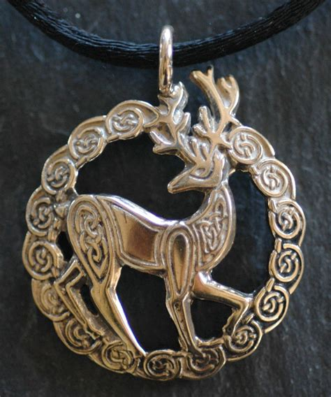 stag large bronze celtic pendant  welsh artist jen