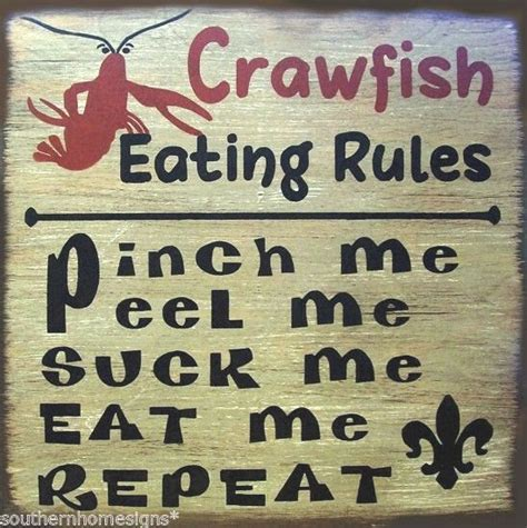 Crawfish Eating Rules Rustic Primitive Country Distressed