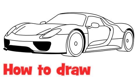 draw  car porsche  spyder step  step youtube