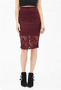 Lyst - Forever 21 Floral Lace Pencil Skirt in Purple