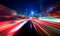 Motion Speed Light Tail With Night City Background Stock ...