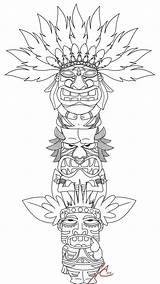 Totem Pole Deviantart Coloring Pages Printable Native American Craft Poles Tiki sketch template