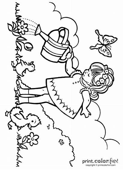 Watering Plants Coloring Pages Flower Fun Play