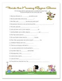 Nursery Rhyme Baby Shower Game Photo