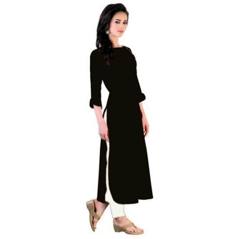 Boat Neck Kurti Tops by Buy Meera Creations Black Solid Boat Neck Kurti