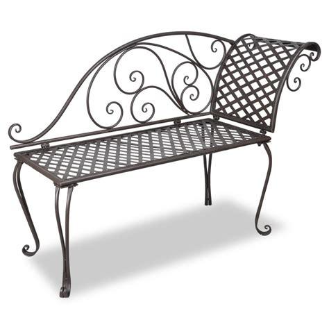 vidaxl co uk vidaxl metal garden chaise lounge antique brown scroll patterned