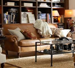 vintage sofa leder how to style a leather sofa pottery barn