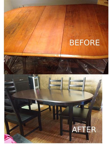 world kitchen cabinets table refinished in general finishes gel stain in java and 3663