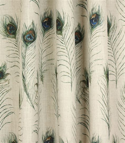 Peacock Feather Upholstery Fabric by Peacock Feathers Fabric Linen Just Fabrics
