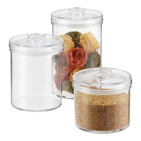 clear canisters kitchen acrylic canisters clear round acrylic canisters the container store