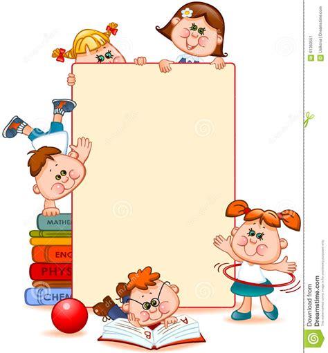 frame with school children stock vector 61360551