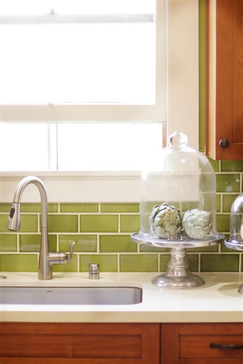 craftsman kitchen  green subway tile backsplash hgtv