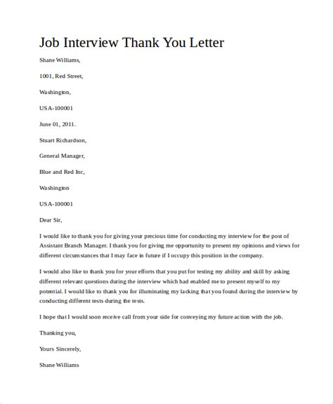 9+ Thank You For The Interview Letter Samples  Sample Templates