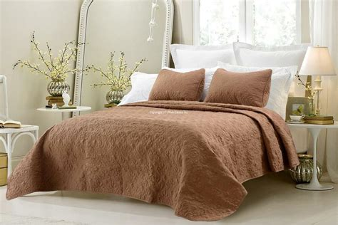 Oversized Coverlets by Oversized 3pc Quilted Coverlet Set Brown Or