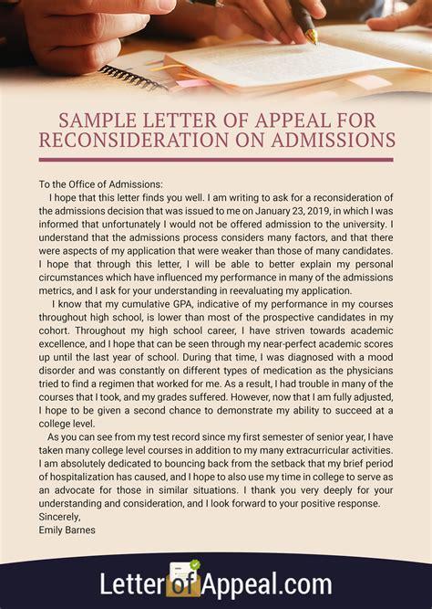 admission appeal letter sample  letter  appeal