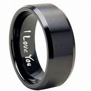10mm tungsten carbide i love you matte black flat top for Guys wedding rings