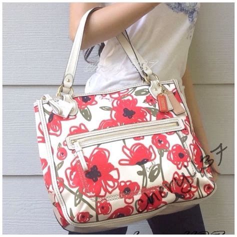 Purse Coach Poppy Flowers