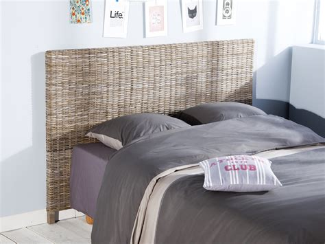 tete de lit tressee t 234 te de lit en kubu teint 233 gris hauteur 113 cm kubu 140cm