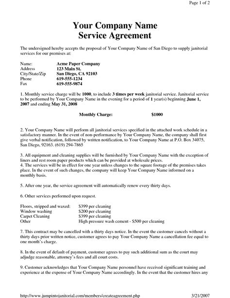 sample janitorial contract  printable documents