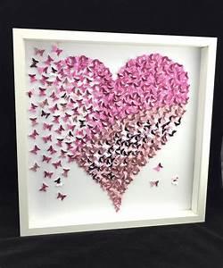 Schmetterlinge Basteln 3d : paper butterfly 3d butterfly wall art butterfly heart butterfly canvas paper butterfly art ~ Orissabook.com Haus und Dekorationen