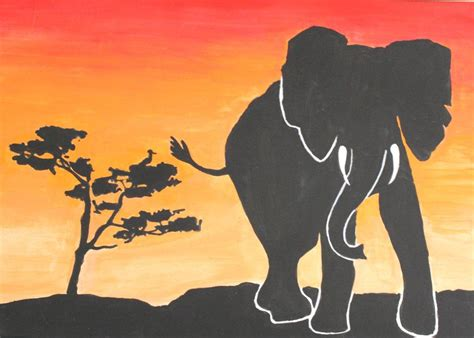 elephant silhouette sunset painting elephant silhouette sunset by kaylinmarie2895 on deviantart