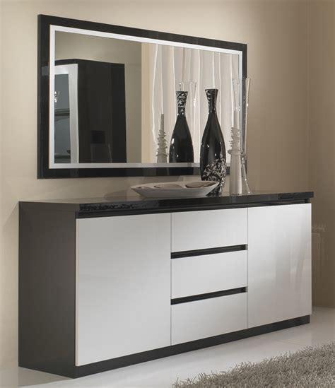 bureaux blanc laqué bahut 2 portes 3 tiroirs roma laqué bicolore noir blanc