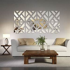 Mirrored chevron print wall decoration wall decorations for Decorative for living room walls