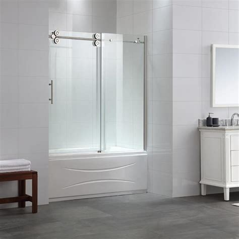 shower tub door ove decors sydney 58 25 in to 59 75 in w frameless satin