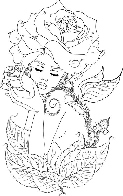 lineartsy adult coloring page spring | art | Fairy coloring pages, Free adult coloring pages