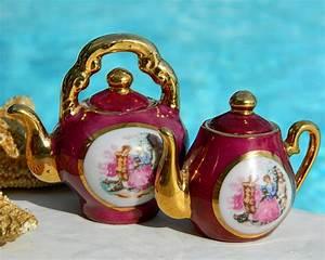 Vintage, Porcelain, Miniature, Teapots, Courting, Couple, Japan