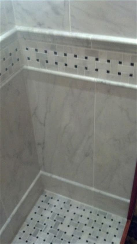 basketweave marble shower floor and border traditional