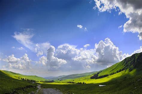 photo  scenery blue sky white cloud