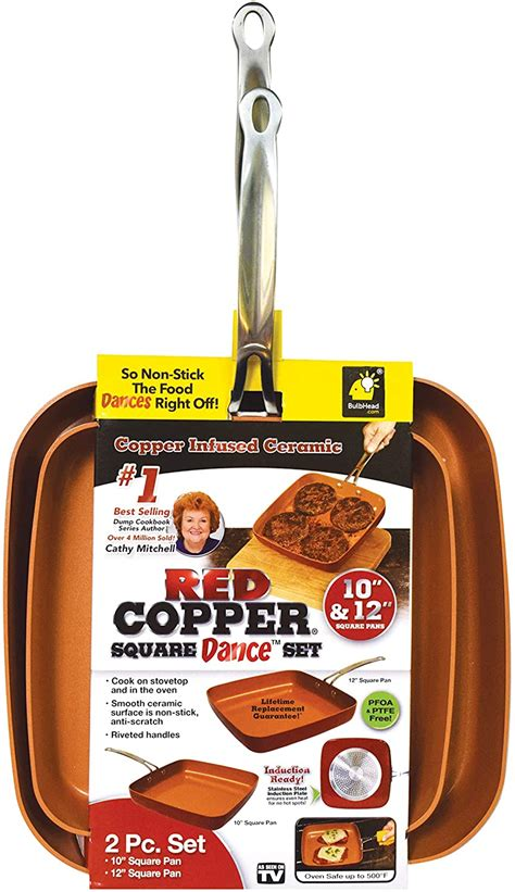 bulbhead red copper cookware    square frying pan  piece
