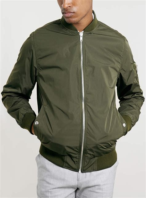 light bomber jacket mens topman khaki lightweight ma1 bomber jacket in green for