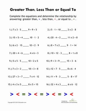 greater    equations worksheet educationcom