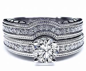 engagement ring vintage filigree diamond engagement ring With wedding ring wrap set
