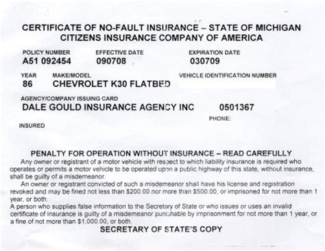 Proof Of Auto Insurance Template Free