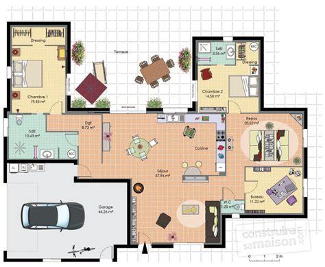 plan maison plain pied 4 chambres avec suite parentale maison de plain pied 2 d 233 du plan de maison de plain